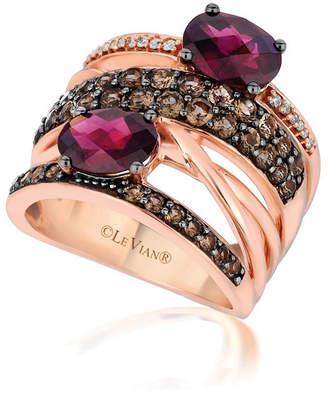 LeVian CORP Grand Sample Sale By Le Vian Raspberry Rhodolite 1/10 CT. T.W. Chocolate Quartz & Vanilla Diamonds 14K Strawberry Gold Ring