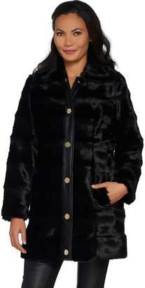 Dennis Basso Platinum Collection Sculpted Faux Mink Coat