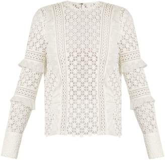 Self-Portrait Ruffled-sleeve daisy-lace top