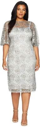 Adrianna Papell Plus Size Antique Flutter Sleeve Lace Cocktail Dress Women's Dress