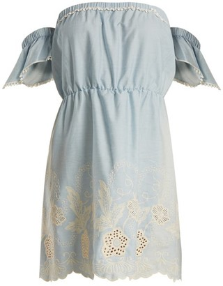 Athena Procopiou - Gypset Off The Shoulder Cotton Mini Dress - Womens - Light Blue