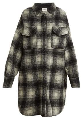 Etoile Isabel Marant Gario Oversized Checked Wool Blend Coat - Womens - Black White