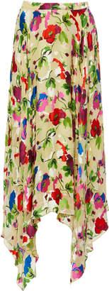 Saloni Freja Floral-Print Silk Midi Skirt