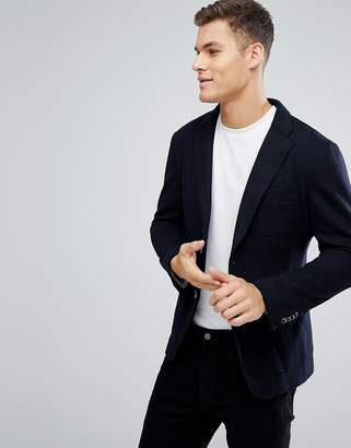 Esprit Wool Mix Blazer In Navy