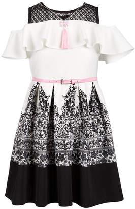 Beautees Big Girls 2-Pc. Cold Shoulder Skater Dress & Necklace Set