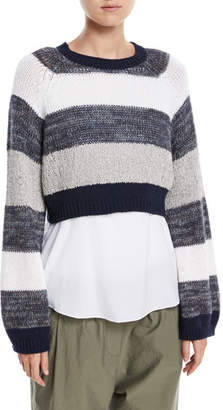 Brunello Cucinelli Coated Rugby-Stripe Long-Sleeve Cropped Pullover Sweater