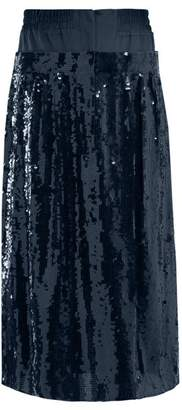 Tibi Sequinned Silk Midi Skirt - Womens - Navy
