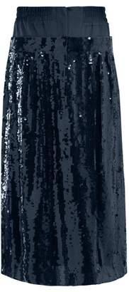 Tibi Sequinned Silk Midi Skirt - Womens - Navy