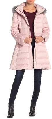 Kate Spade Faux Fur Trim Hood Heavy Quilted Coat
