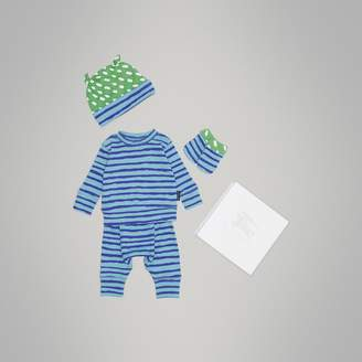 Burberry Striped Cotton Four-piece Baby Gift Set , Size: 3M, Blue