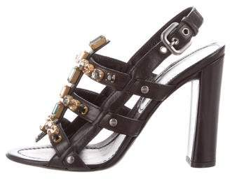 Prada Jewel-Embellished Slingback Sandals