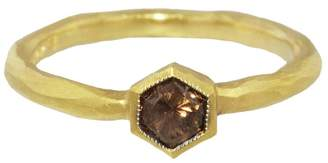 Cathy Waterman Hexagonal Cognac Diamond Solitaire Ring