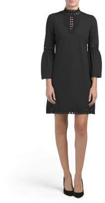 Bell Sleeve Mock Neck Ponte Dress
