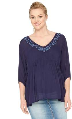 Motherhood Maternity Smocked Embroidered Maternity Blouse
