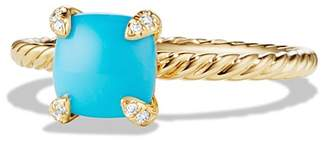 David Yurman Ch'telaine Ring with Turquoise and Diamonds in 18K Gold