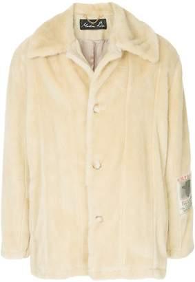 Martine Rose fur single breasted coat
