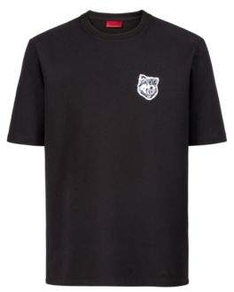 HUGO Boss Oversized-fit T-shirt in French terry wolf badge M Black