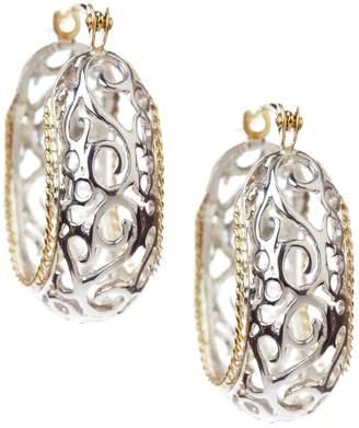 Candela Sterling Silver 14K Yellow Gold Cutout Oval Hoop Earrings