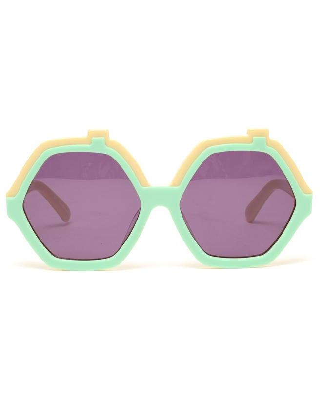 HOUSE OF HOLLAND 'Roofies' Hexagonal Acetate Sunglasses