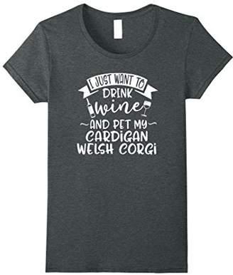 Corgi Womens Want To Drink Wine & Pet My Cardigan Welsh T-Shirt Small