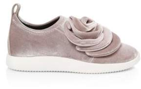 Giuseppe Zanotti Single Rose Velvet Slip-On Sneakers
