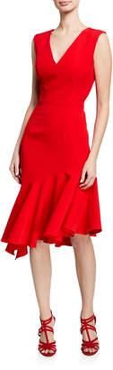Milly Vanessa Sleeveless Asymmetric Flounce Hem Dress