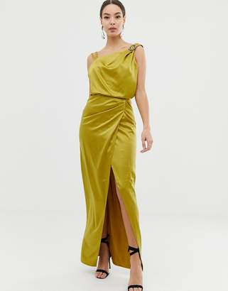 Lipsy satin drape dress with embellishment