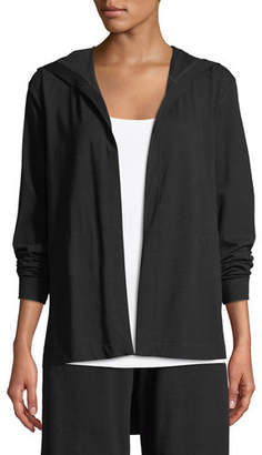 Eileen Fisher Organic Cotton Jersey Hooded Cardigan, Plus Size