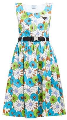 Prada Blossom Print Cotton Poplin Dress - Womens - White Multi