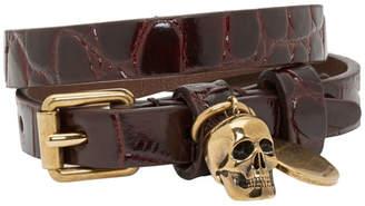 Alexander McQueen Red Croc Double Wrap Skull Bracelet