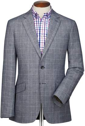Charles Tyrwhitt Slim Fit Blue Prince Of Wales Checkered Linen Mix Linen Jacket Size 36