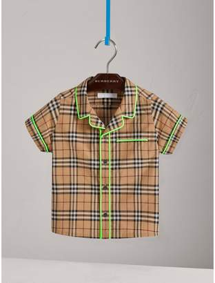 Burberry Short-sleeve Piped Check Cotton Shirt