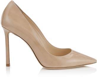 Jimmy Choo ROMY 100 Nude Patent Leather Pointy Toe Pumps