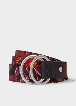 Paul Smith Men's Black 'Ocean' Print Double Buckle Belt