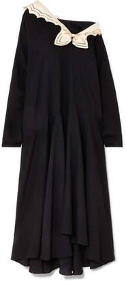 Gucci Oversized Silk-trimmed Crepe Midi Dress - Black
