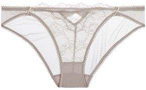 Heidi Klum Intimates Petunia Passion Low-Rise Lace-Paneled Stretch-Mesh Briefs