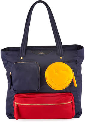 Anya Hindmarch Chubby Wink Multi-Pocket Nylon Tote Bag