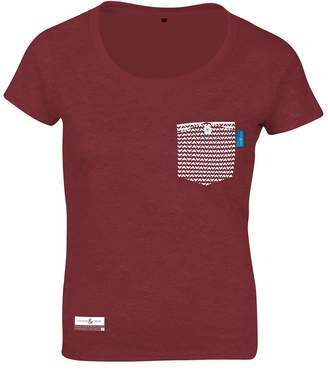 ANCHOR & CREW - Fire Brick Red Marker Print Organic Cotton T-Shirt (Womens)