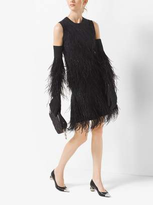Michael Kors Feather-Embroidered Cashmere Gloves