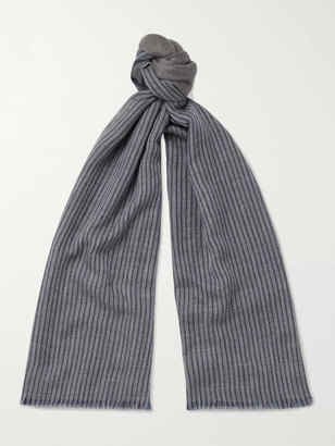 Loro Piana Fringed Striped Cashmere Scarf - Men - Gray