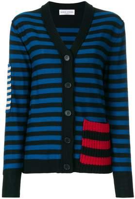 Sonia Rykiel patch detail striped cardigan