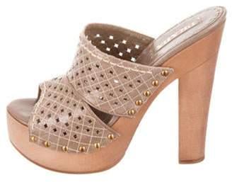 Prada Platform Slide Sandals Grey Platform Slide Sandals