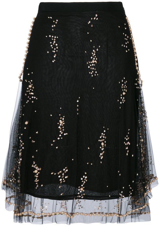 MSGM layered sequined skirt