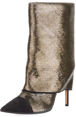 Bicolor Sleeve Glitter Mid-Calf Boot