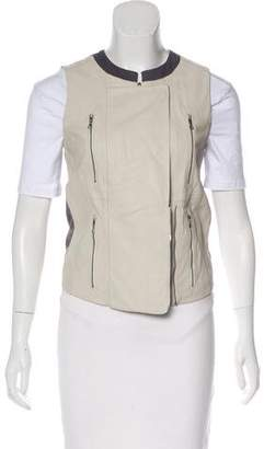 J Brand Leather Zip-Up Vest w/ Tags