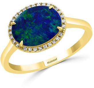 Bloomingdale's Blue Opal & Diamond Ring in 14K Yellow Gold - 100% Exclusive