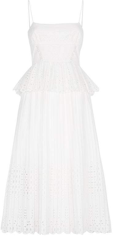 Broderie Anglaise Pleated Midi Dress