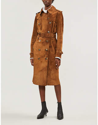 Burberry Women's Sepia Brown Haddington Suede Trench Coat