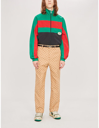 Gucci Colour-blocked logo-appliquéd shell jacket