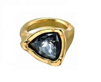 Uno de 50 Black Crystal Women's Ring Partially Gold Plated Ring Size Adjustable ANI0441GRSORO0L